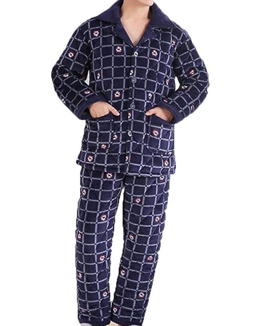 Pijamas Invierno Coral Cachemir Tres Capas De Algodón Engrosamiento Pijama Hombres Cardigan Hogar Ropa Traje,