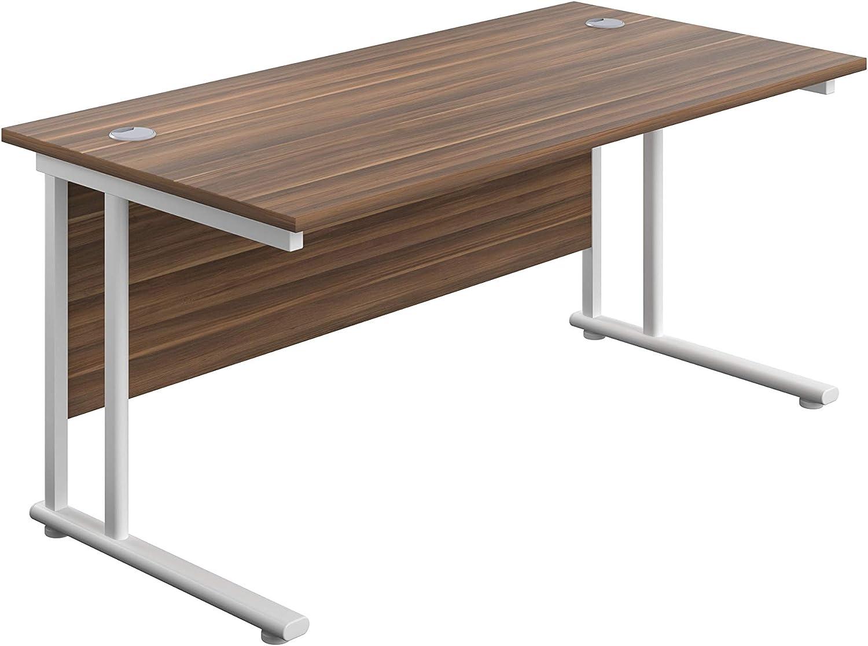 Office Hippo Professional Cantilever Office Desk, Kids 30, Dark Walnut,  White Frame