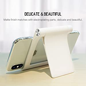 Adjustable Cell Phone Stand,ROCK Desktop Cellphone Tablet Stand,Foldable Portable Desk Stand, 360°Rotatable, Comfortable Viewing, for Cellphone, Apple iPhone,and E-Readers. (White)