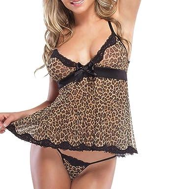 83a59485e9 Fat.chot Women Leopard Lingerie Set of Deep V Tops + G-String Thongs Sexy  Underwear Babydoll Nightwear Sleepwear Everyday  Amazon.co.uk  Clothing