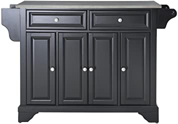 Crosley Furniture LaFayette Kitchen Island With Stainless Steel Top   Black