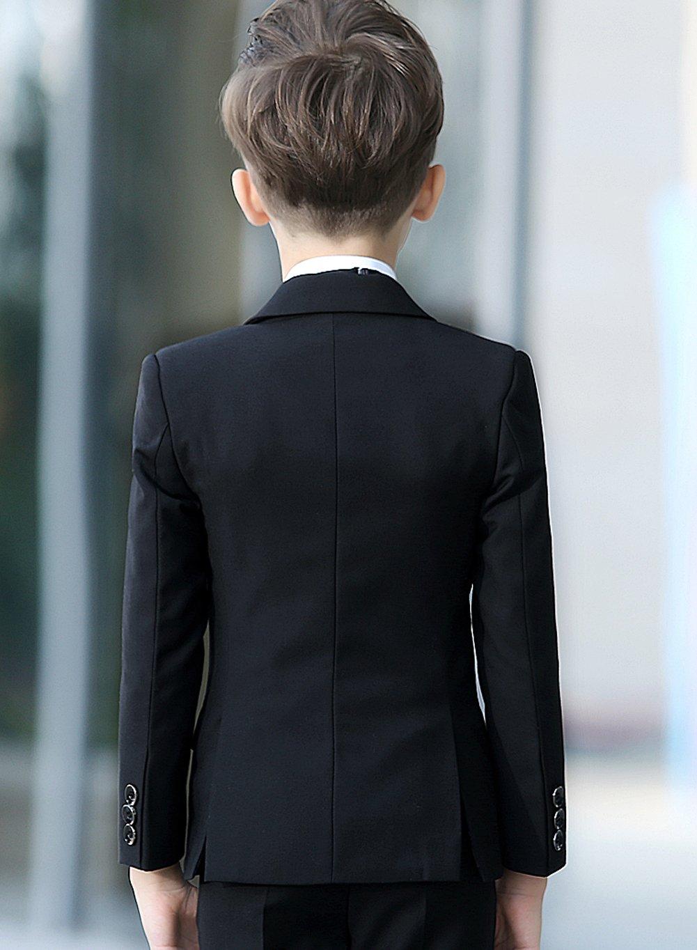 YuanLu Boys Colorful Formal Suits 5 Piece Slim Fit Dresswear Suit Set (Black, 14) by YuanLu (Image #4)