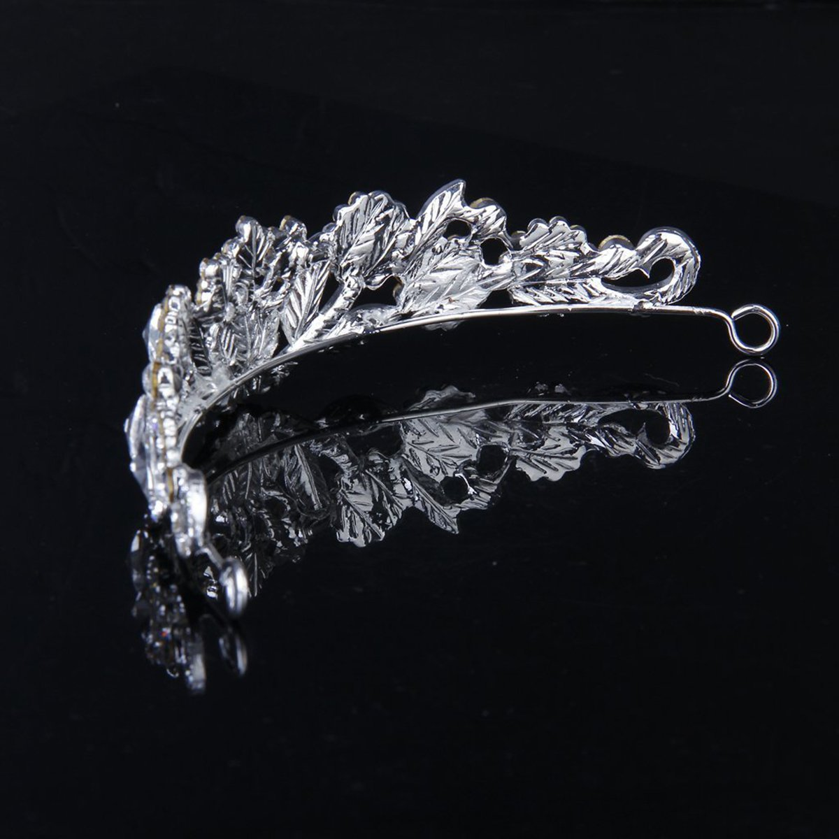 Tinksky Wedding Bridal Crystal Rhinestone Hair Barrettes Hairband Hair Loop (Sliver)