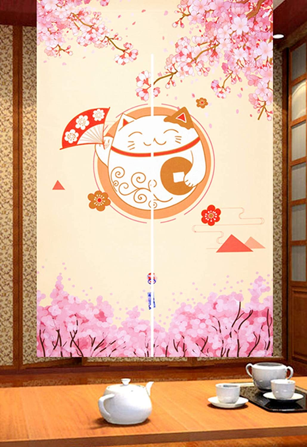 LIGICKY Japanese Style Noren Long Doorway Curtain Fortune Cat & Cherry Blossom Hanging Door Tapestry for Home Decoration, 33.5 x 59 inch
