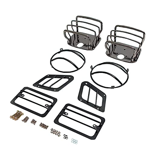 Amazon Com Rugged Ridge 12496 03 Black Euro Light Guard Kit Automotive