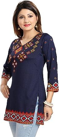 Unifiedclothes Top Mujeres Moda Impreso Indian Kurti Túnica Kurta Top Camisa Vestido MI521 Azul