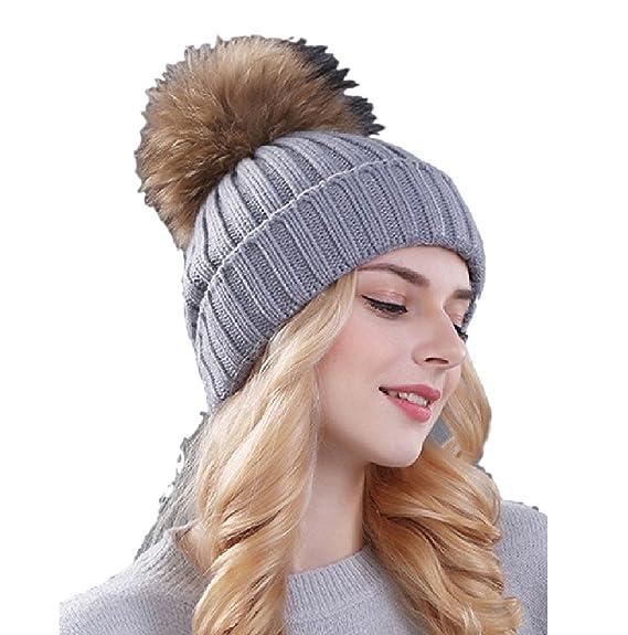 Ducomi® Cortina - Cappello Donna Invernale in Maglia di Lana con Pom Pom  Rimovibile in d2409fc88a80