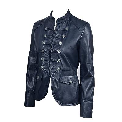 «Victoire» Mesdames Bleu Marine Parade militaire Soft Style réel Nappa Leather Jacket