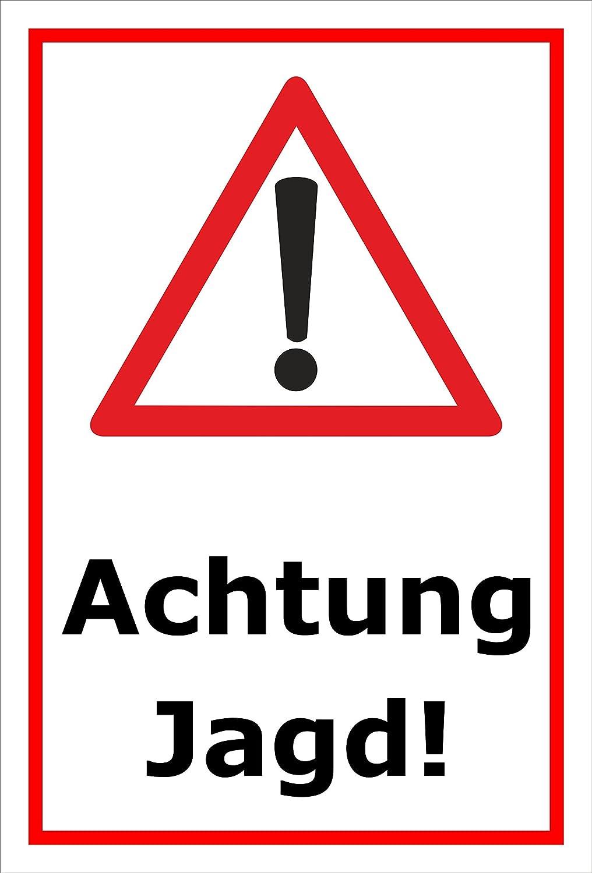 Schild - Jagd - Achtung Jagd – 15x10cm mit Bohrlöchern | stabile 3mm starke Aluminiumverbundplatte – S00351-007-B +++ in 20 Varianten erhältlich Melis-Folienwerkstatt