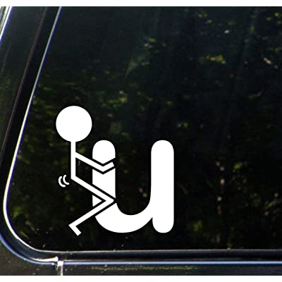 "Yadda-Yadda Design Co. FK U - Stick Figure - F You - Funny - Car Vinyl Decal Sticker - (3.75"" w x 4"" h) (Color Choices Available) (White): Automotive"
