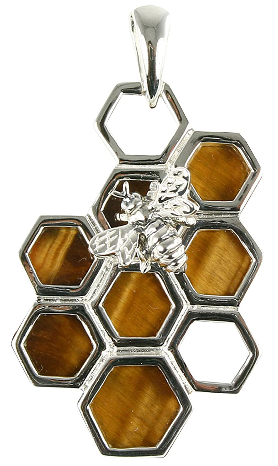 Unique Tigers Eye Bee on Honeycomb Sterling Silver Pendant