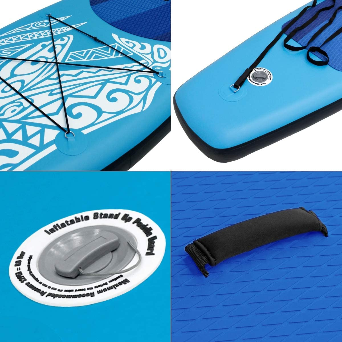 ECD Germany 10ft 5 // 320cm Makani Inflatable Stand up paddle all-round board SUP paddlers surfboard set inc paddle air pump backpack and leash blue for all skill levels kids adult beginners