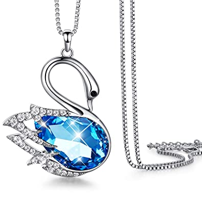 8fe0f24f545a Amazon.com  CDE Swan Long Necklace Womens Animal Swarovski Crystal Pendant  Necklaces Fashion Jewelry for Her Chain 31.5