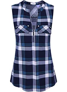 c7a26afbaa442 Bulotus Women s V-Neck Casual Tunic Tank Tops Zipper Sleeveless Blouse Shirt