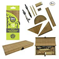 """ONYX+GREEN 12 Piece Math Set (2 Sets) – 6"""" Ruler, Protractor, 2 Triangles, Compass, Divider, 2 Craft Paper Pencils, Sharpener and Eraser; Eco-Friendly School Supplies"""