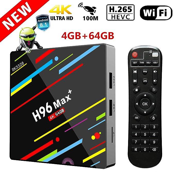 TV Box Android 8.1, 4G DDR3 64G ROM Timmery H96 MAX+ Smart TV Box Quad-Core 64-bit Cortex-A53 Bluetooth 4.1 2.4G /5G Dual WiFi/ H.265/100M DLNA /4K 3D Smart ...