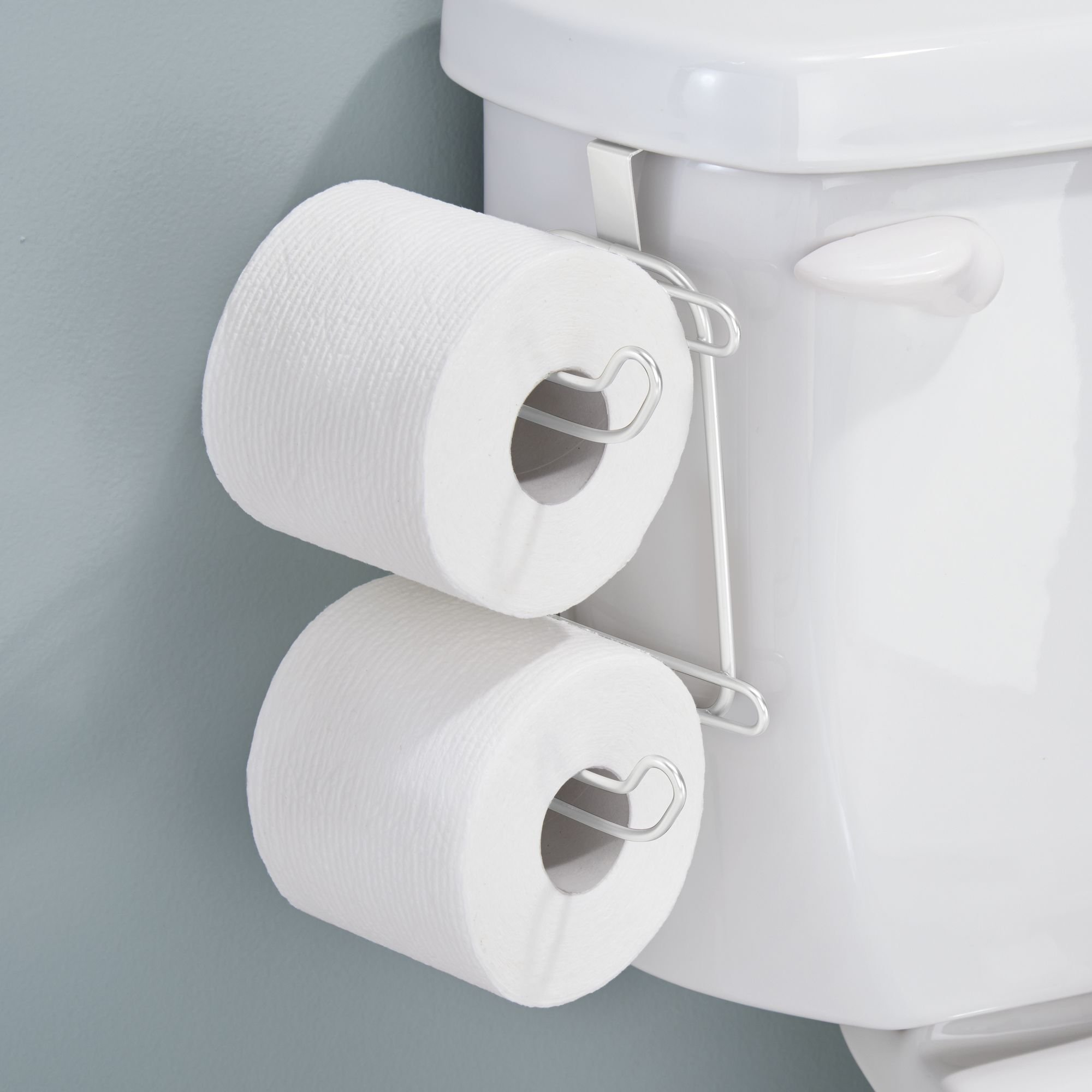 mDesign Compact Hanging Over The Tank Toilet Tissue Paper Roll Holder and Dispenser for Bathroom Storage - Holds 1 Extra Roll - Space Saving Design - Pack of 2, Durable Metal Wire in White Finish by mDesign (Image #3)