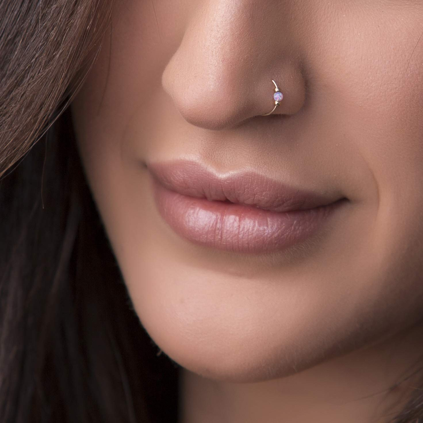 Amazon Com Small Pink Opal Nose Ring Hoop 2mm Pink Opal 14k