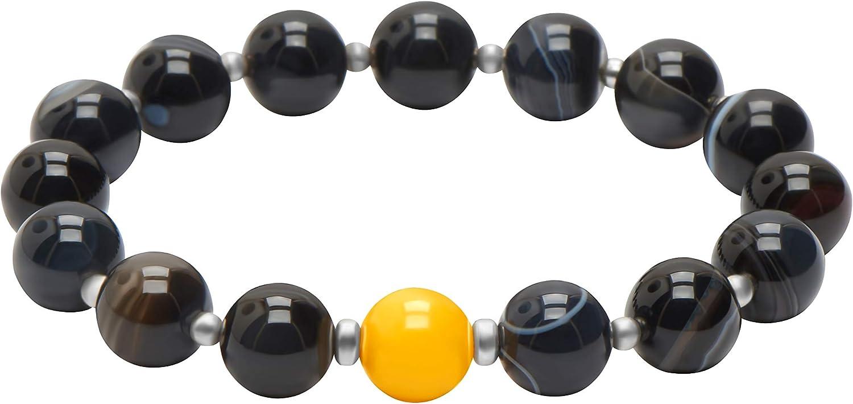 ANDANTE Premium Collection - Auténtica ágata negra y 1 ámbar del mar Báltico natural en color amarillo lechoso, certificado, en plata de ley 925, pulsera elástica aprox. 16-21 cm