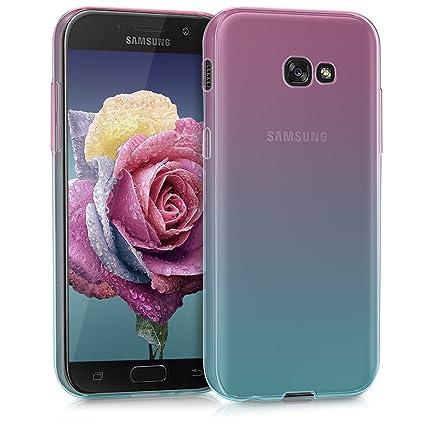 kwmobile Funda para Samsung Galaxy A5 (2017) - Carcasa para móvil de TPU con diseño bicolor - rosa fucsia / azul / transparente