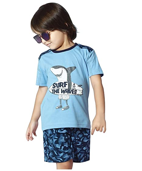 5319a4dd0f1 Night Suit for Toddlers - Blue Color - Soft Sinker Material - Printed Night  Suit - Half Sleeves Tshirt and Bermuda Set - Available for 2 3 4 5 6 Year  Old ...