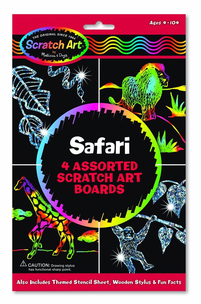 Melissa Doug Scratch Art Safari 4 Assorted Scratch Art Boards Wooden Stylus Stencil Sheet