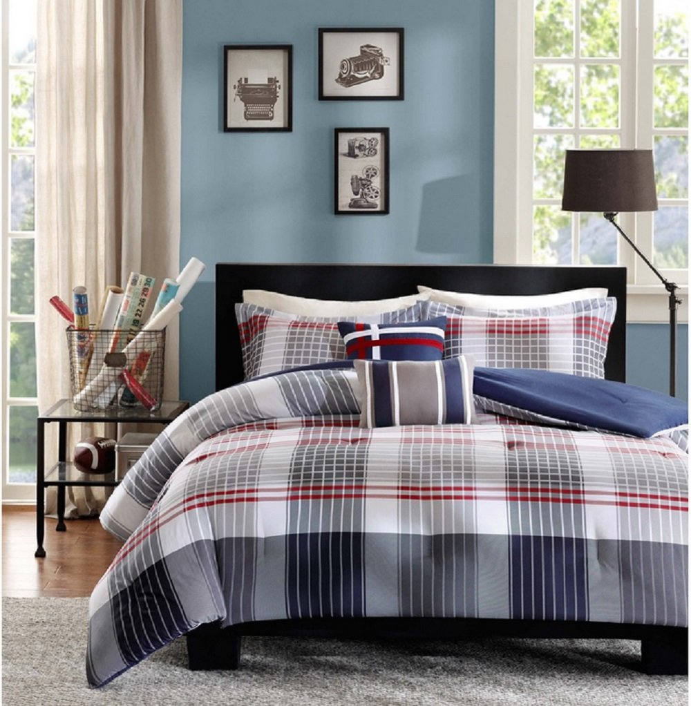 Contemporary Plaid Comforter Set Full/Queen