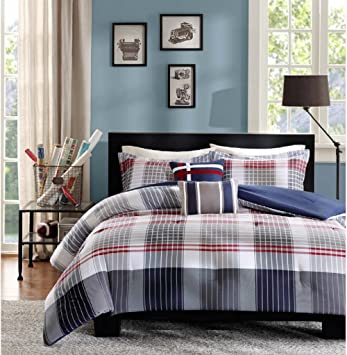 c roll comforter pbteen plaid sham to zoom products blue coastal over image