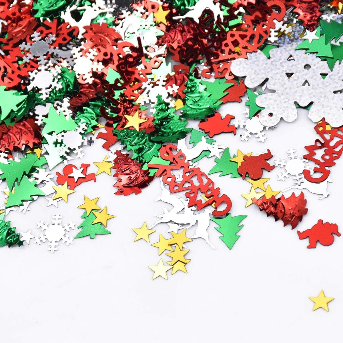 No/ël Confettis D/écoration de Table Confettis Color/és de No/ël en Forme de Sapins de No/ël Flocons de Neige /Étoiles P/ère No/ël Renne Joyeux No/ël Lettres pour D/écorations de F/ête Anniversaire
