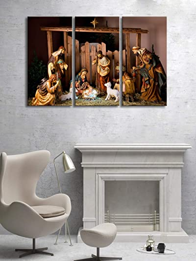 KLVOS Christmas Nativity Scene Wall Art 3 Piece Canvas Prints Jesus was Born