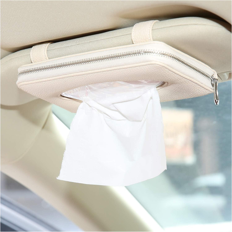 White Leather Vehicle Backseat Tissue case Sun Visor Napkin Box,Auto Visor Tissue Holder Car Tissue Holder