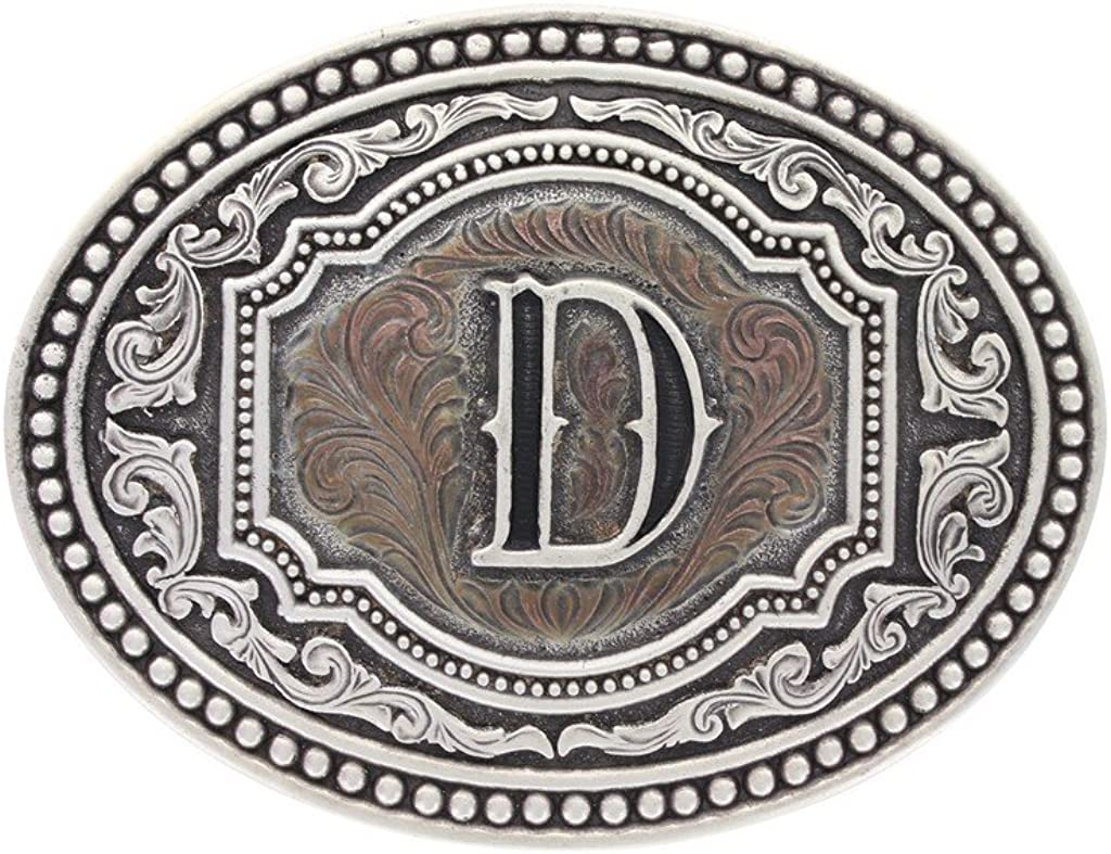 Montana Silversmiths Men's Initial Two Tone Cameo Buckle - A518 (D): Clothing