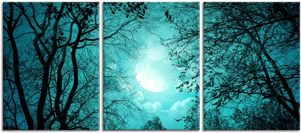 Visual Art Decor 3 Pieces Teal Green Moon Trees Forest Canvas Prints Wall Decor Premium Gallery Decor Ready to Hang for Home Bedroom Office Bathroom Decoration(04 Moon)
