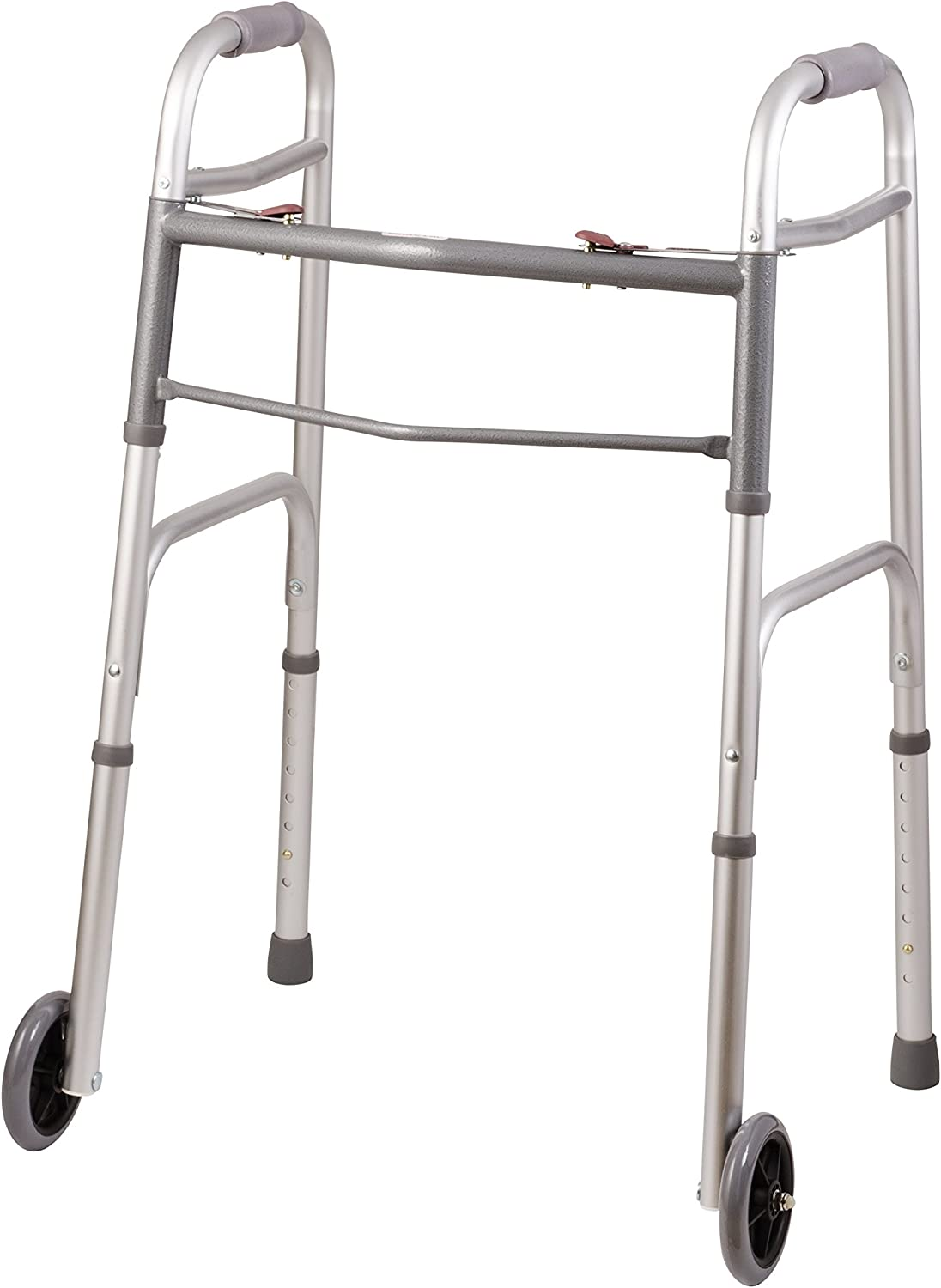 DMI Lightweight Aluminum Folding Walker with Easy Two Button Release, 5 Inch Wheels, Adjustable Height, No Assembly Needed, Silver