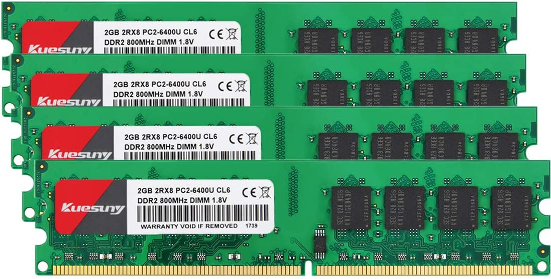 8GB Kit (2GBX4) DDR2 800 Udimm RAM, Kuesuny PC2-6400/PC2-6400U 1.8V CL6 240 Pin Non-ECC Unbuffered Desktop Memory Modules