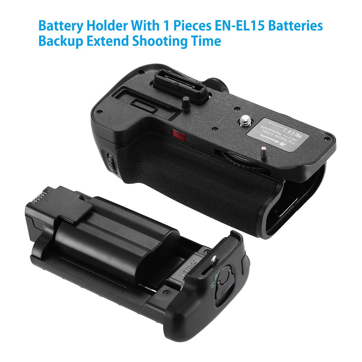 2 /× High Capacity 2200mAh EN-EL15 Batteries Powerextra MB-D15 Battery Grip AA-Size Battery Holder with Infrared Remote Control for Nikon D7100 D7200 Digital SLR Camera