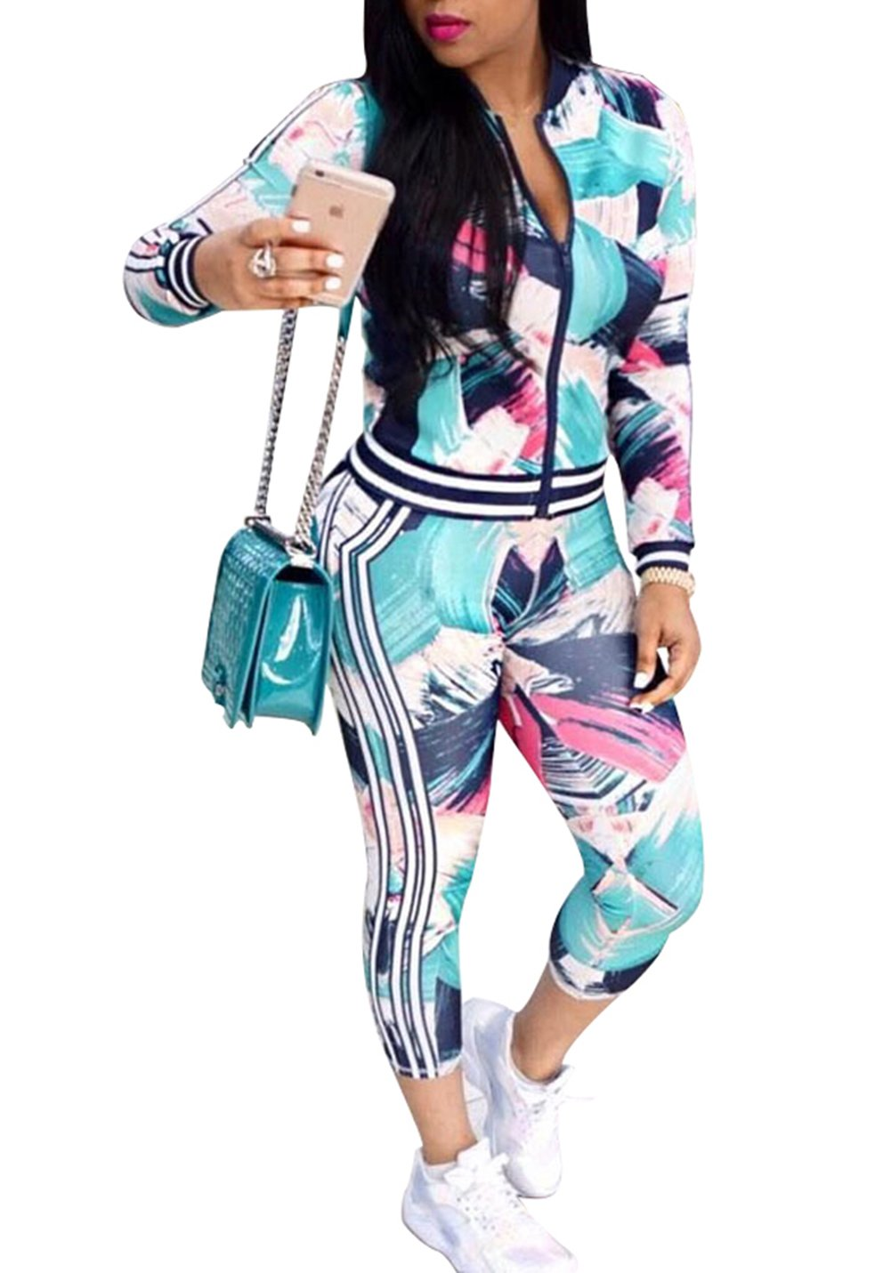 FOUNDO Women's Floral Tracksuit Jacket Pants 2 Piece Sports Joggers Jog Set