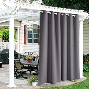 RYB HOME Patio Curtains Outdoor - Waterproof Outdoor Privacy Curtain Blackout Drapery for Porch Outdoor Shower Arbor Basement Carport Garden Lawn, Wide 84 x Long 84, 1 Pc, Grey