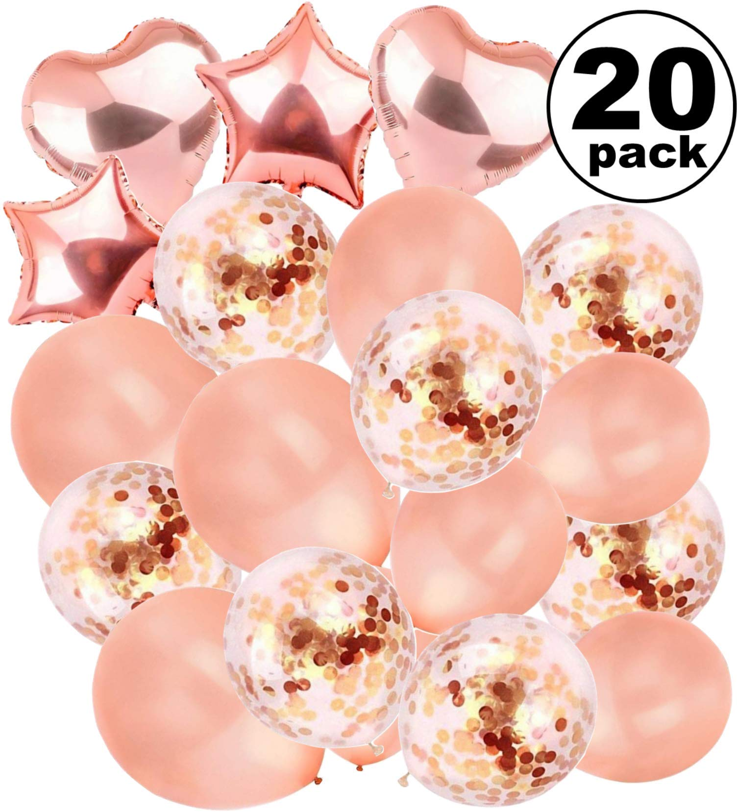 Large Rose Gold Balloons Decorations - 18 Inch Confetti Latex Pack 20 Filled Metallic Great Love | Bridal Baby Shower, Birthday, Wedding, Engagement, Prom, Graduation Supplies, Bachelorette, Sweet 16