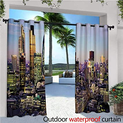 Amazon.com: cobeDecor City Balcony Curtains Modern ...