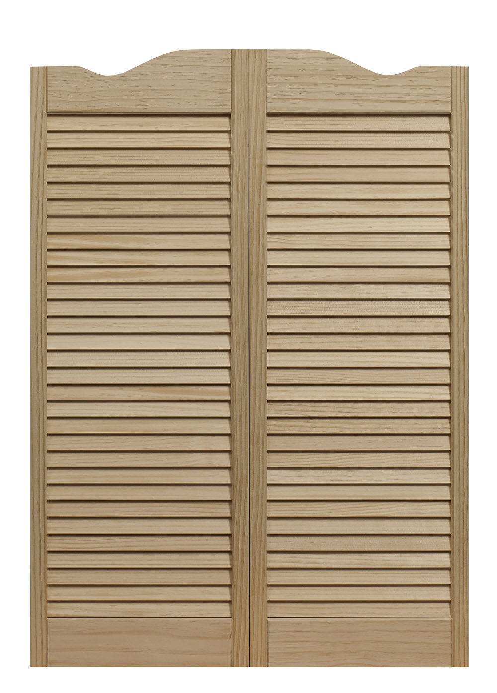Pinecroft 858442 Dixieland Louvered Café Interior Swing Wood Door, 24'' x 42'', Unfinished