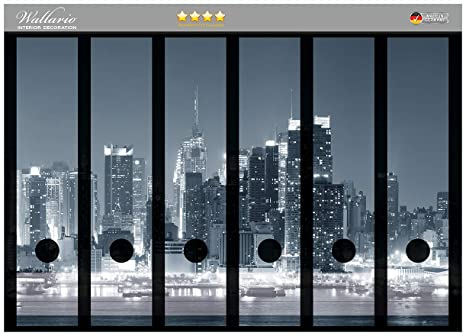 Archivadores pegatinas New York Skyline B/W en CALIDAD - tamaño 36 x 30 cm