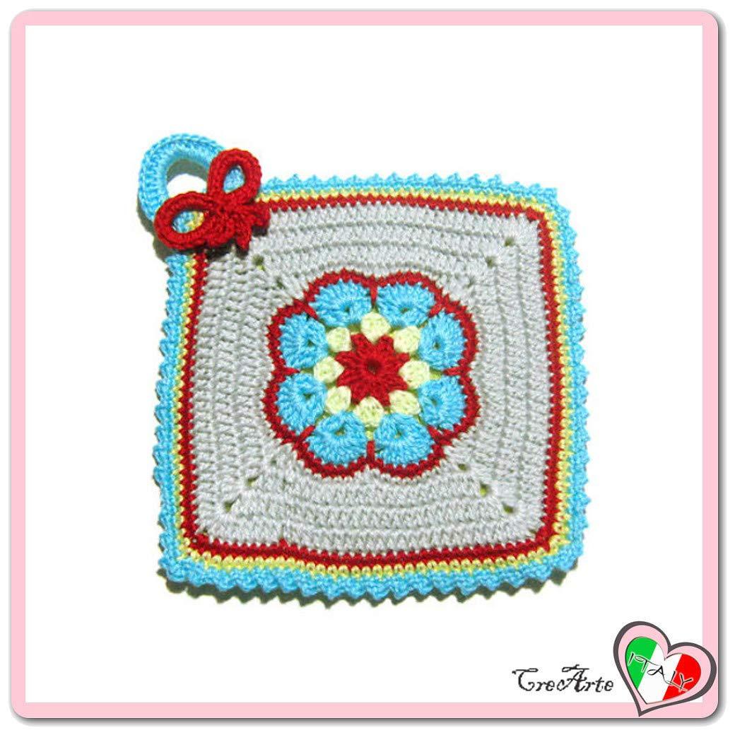 Agarradera de colores con flor afgana de ganchillo - Tamaño ...