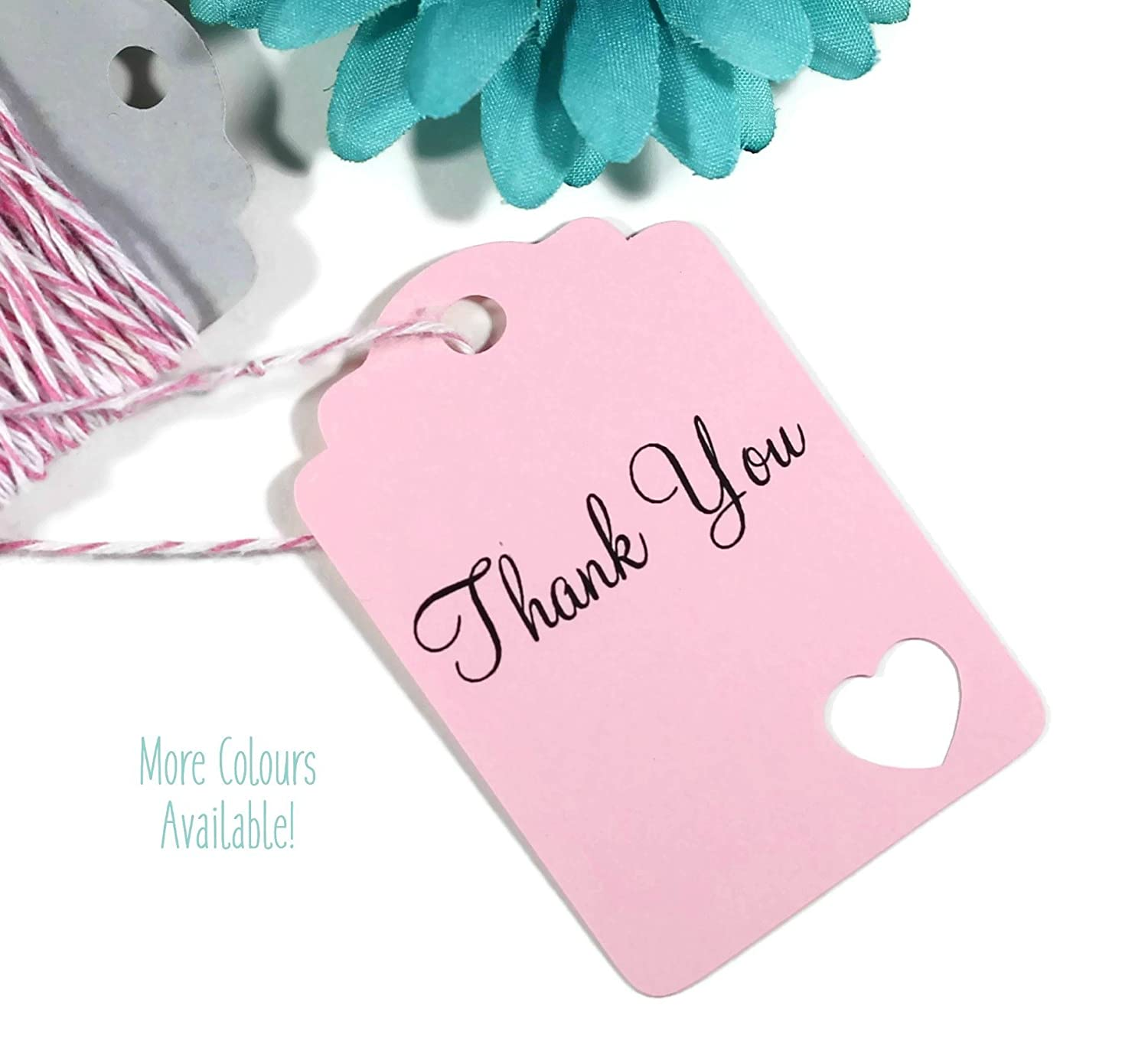 Amazon.com: Light Pink Thank You Tags - Heart Themed Wedding Favors ...