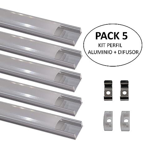(LA) Packung 5x 1m Aluminiumprofil. LED-Aluminiumprofil für STRIP-LED-Streifen, mit milchig-weißer Abdeckung. Endstopfen und