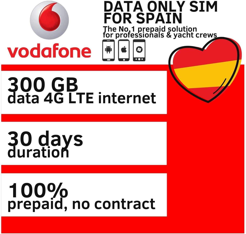 datasimshop Vodafone 300GB Data SIM Tarjeta para Internet móvil SIM Card 4G / LTE rápido en España válido para 30 días: Amazon.es: Electrónica