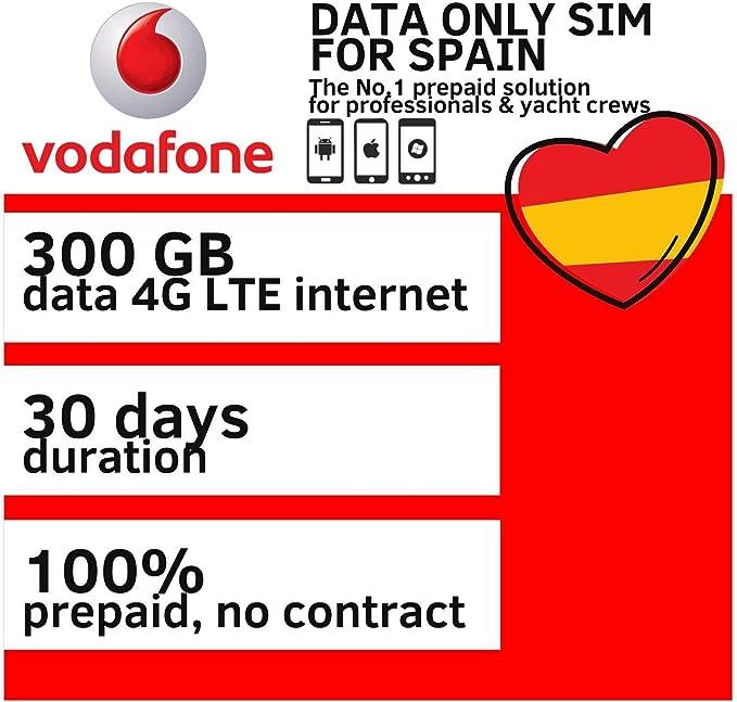 datasimshop Vodafone 300GB Data SIM Tarjeta para Internet móvil ...