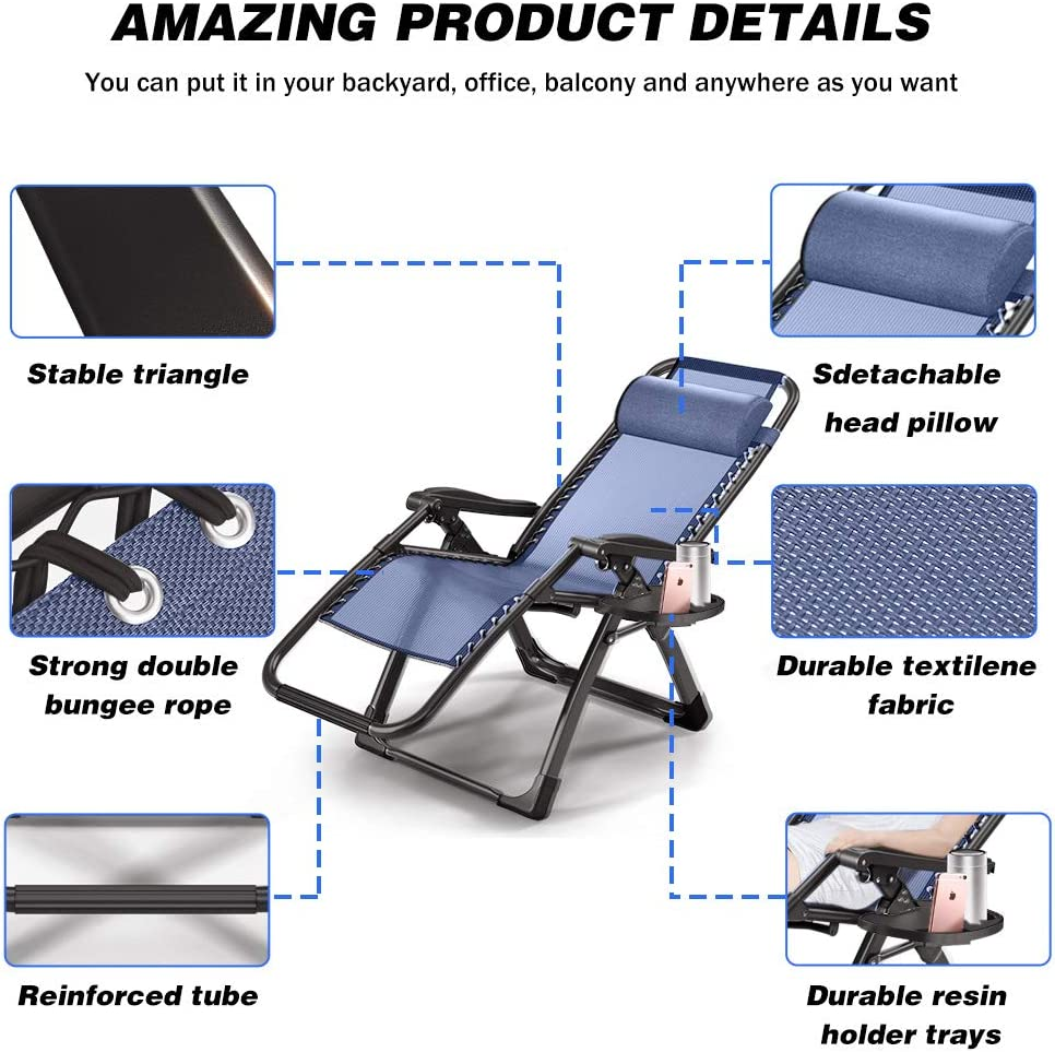 Rimdoc Anti Gravity Chairs Oversized Adjustable Folding Camping Chairs Xl Zero Gravity Chair 2 Pack Patio Lounge Chairs Sets Of 2 With Cup Tray Recliners