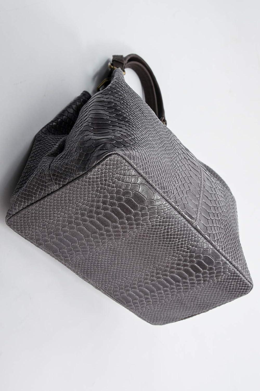 Ital Designer Abendtasche Flap Bag Pochette Schlangenhaut echt Leder Grau 747SG