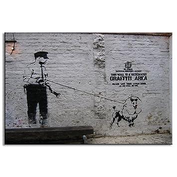 dvq art-graffiti Banksy Arte figura calle arte abstracto Giclée Policía caminar un perro pintura impresiones sobre lienzo sala de oficina decoración listo ...